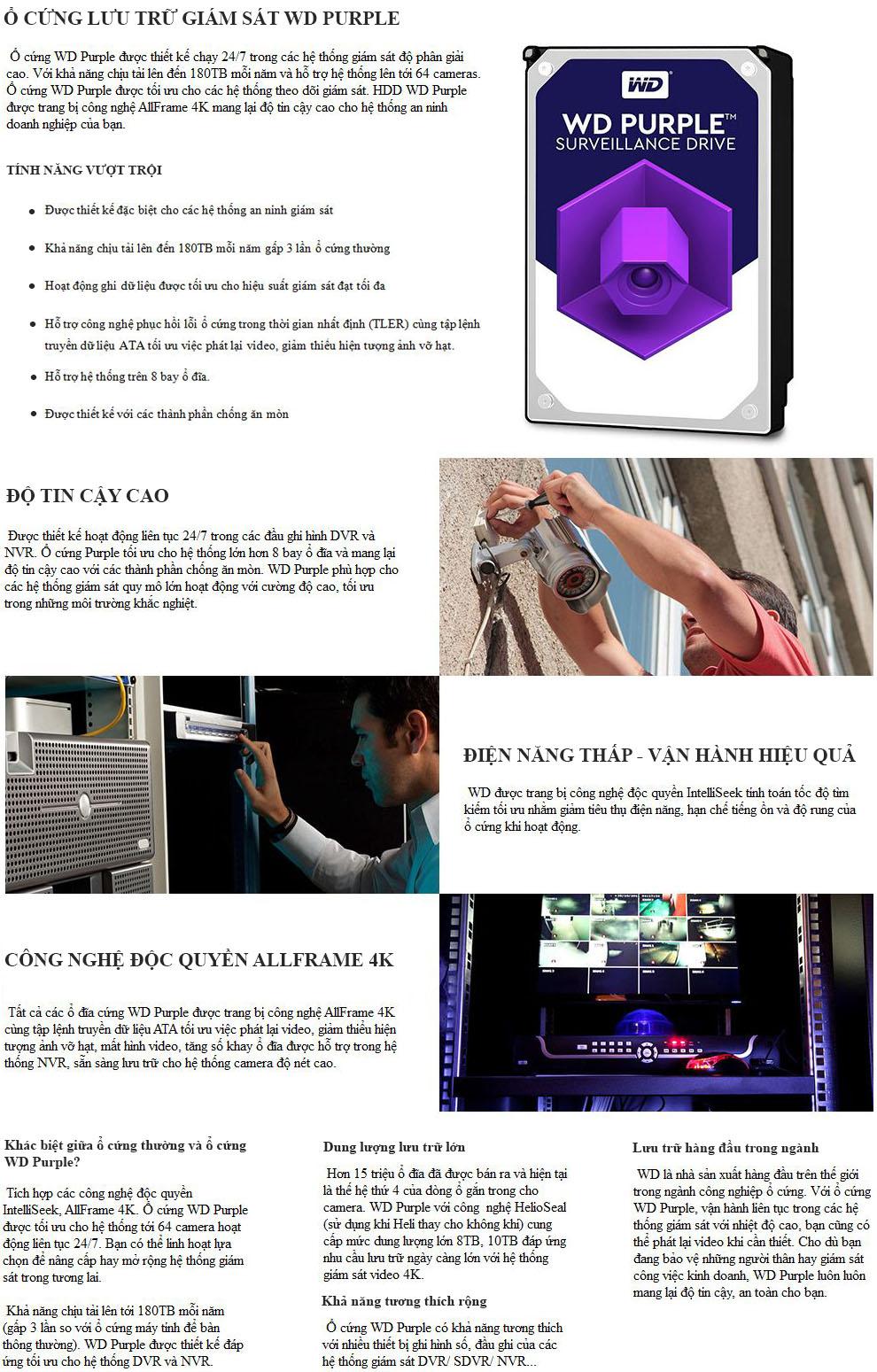 Tính năng hdd wd purple cho camera